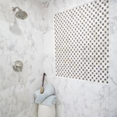 Marble Shower With Mosaic Tile Detailing