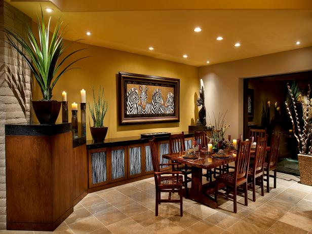 African-Inspired Yellow Transitional Dining Room