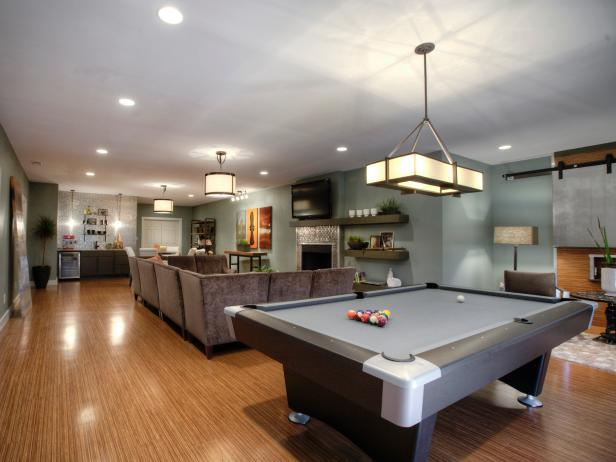 Family Game Room With Pool Table
