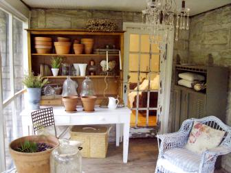 Enclosed Shabby Chic Porch With White Potting Table