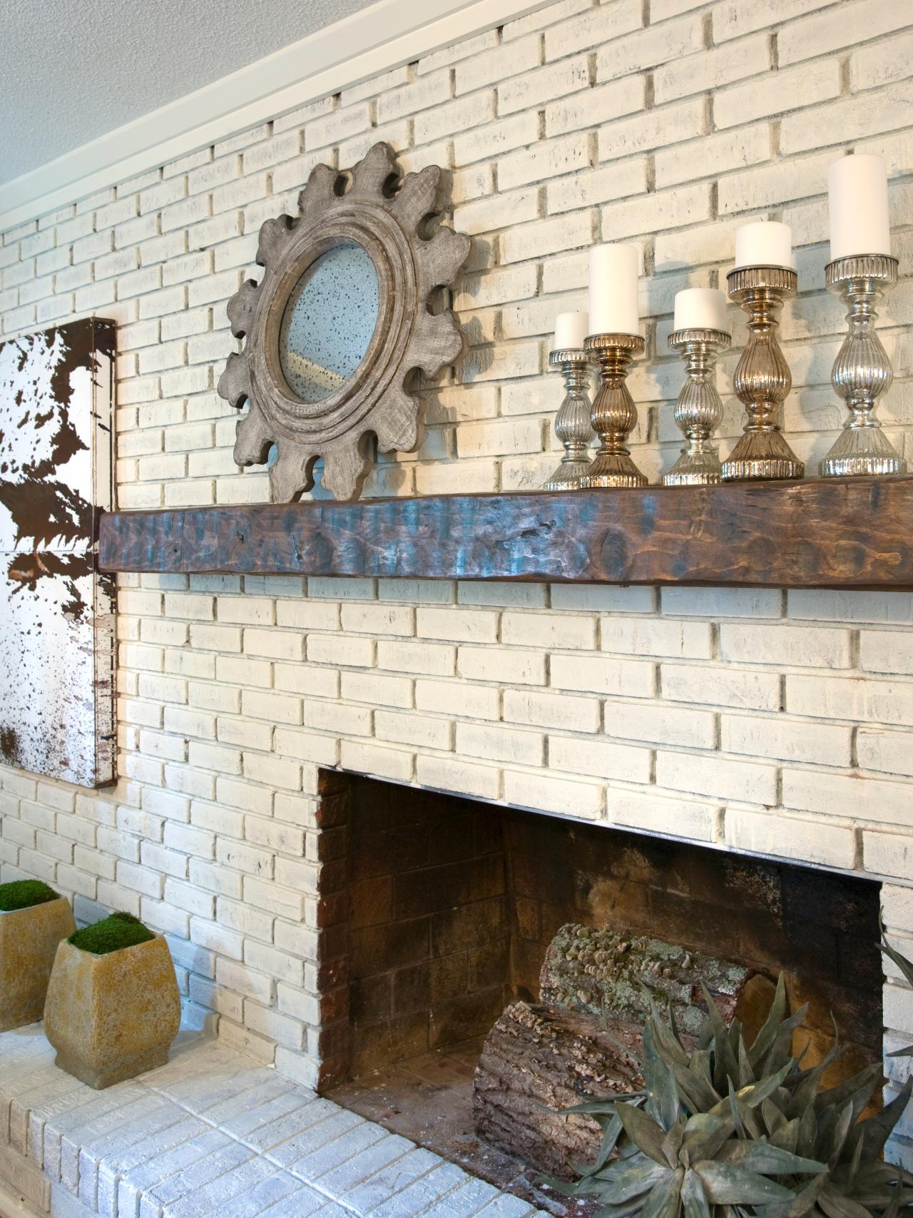 Rustic Glam Painted Brick Fireplace