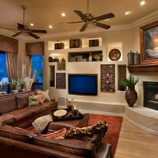 Superb Southwestern Living Room With TV Niche
