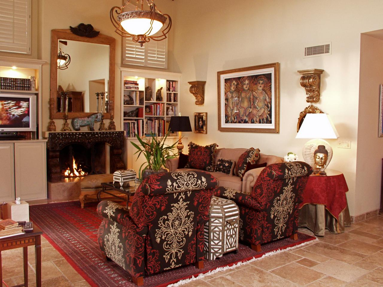 Red Living Room: Eclectic Red Living Room