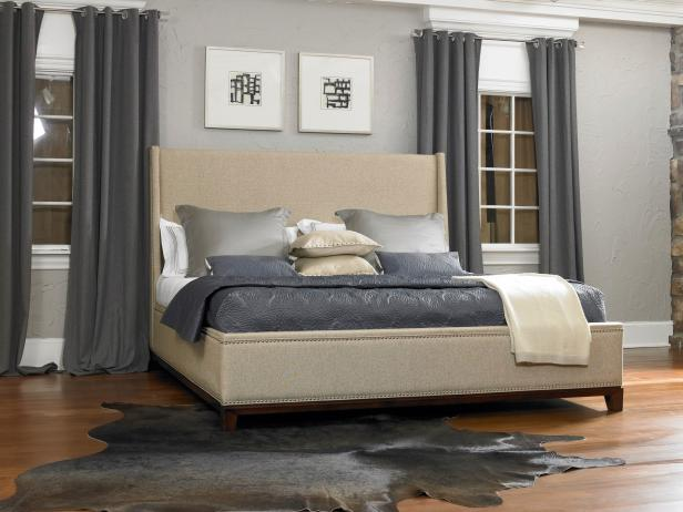 Gray Contemporary Bedroom With Upholstered Beige Bed Hgtv
