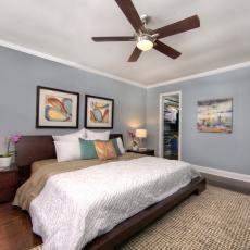 Dusty Blue Bedroom With Slow Slung Platform Bed
