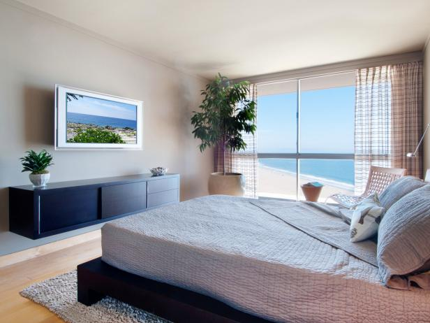 Neutral Contemporary Bedroom With Ocean View