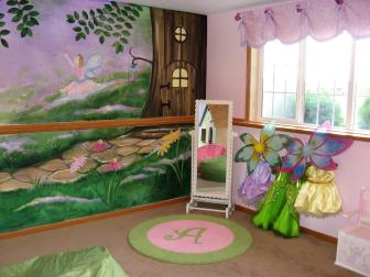 Fairy Garden Themed Girls' Playroom With Dress-Up Area