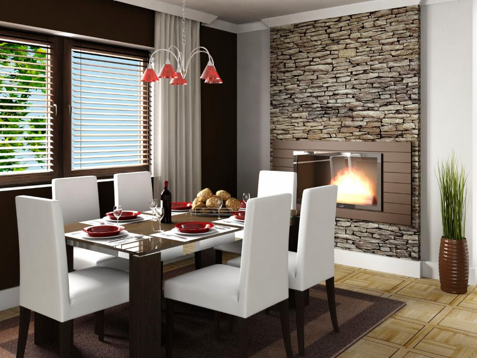 Dining Room With Stone Fireplace Surround