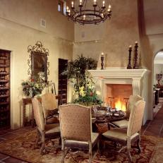 Gentil Old World Dining Room With Fireplace