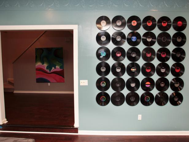 Record Installation on Blue Wall
