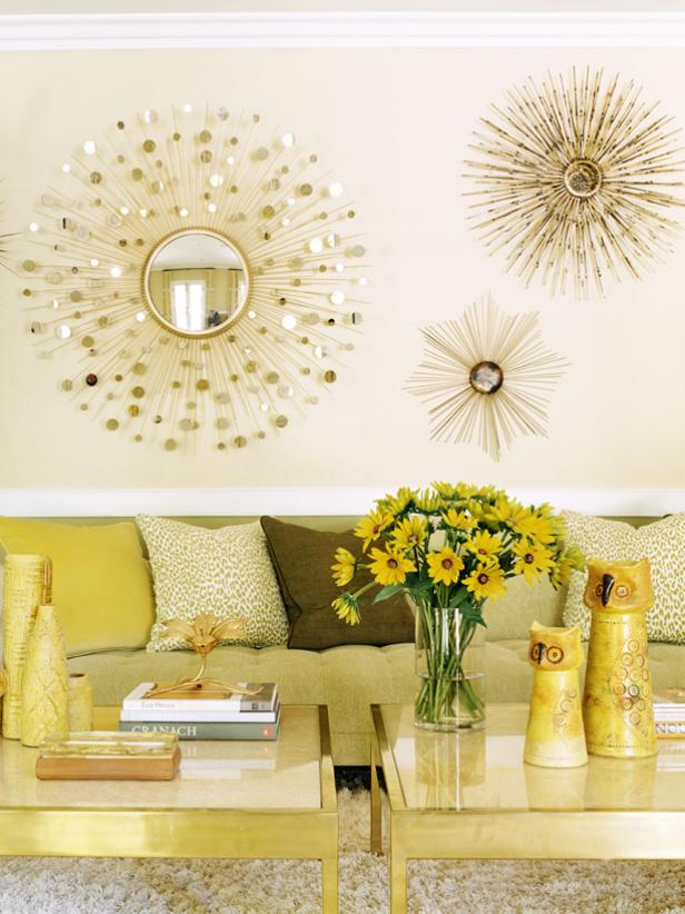 Contemporary, Gold Living Room With Sunburst Mirrors