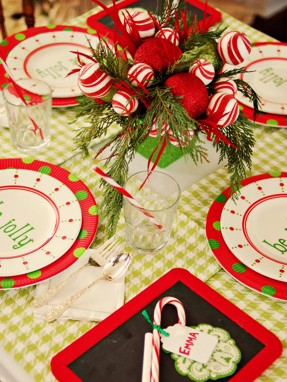Christmas Kids' Chalkboard Table Setting and Centerpiece