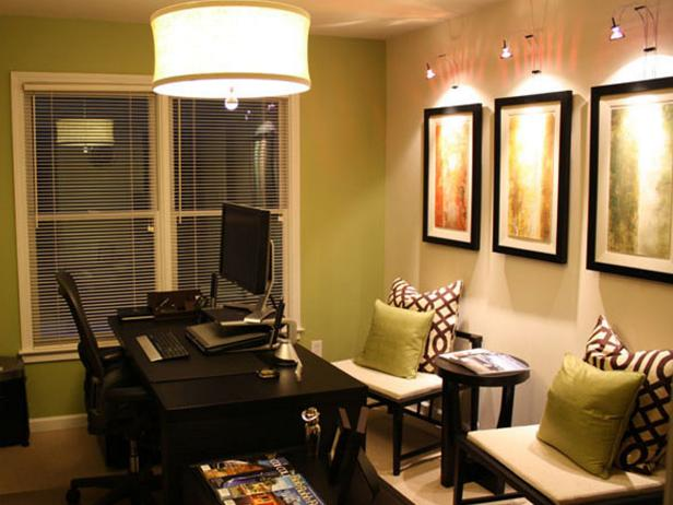 Contemporary Home Office With Green Accent Wall Hgtv