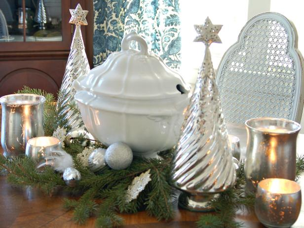 White and silver holiday centerpiece