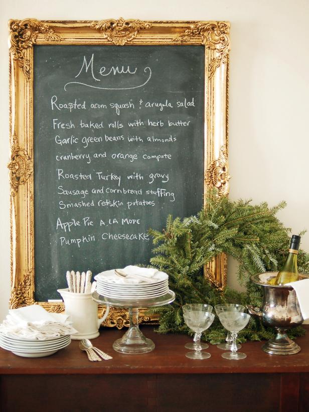 Menu On Gold Framed Chalkboard