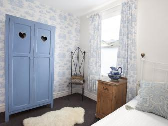 Shabby Chic Bedroom With Blue Armoire