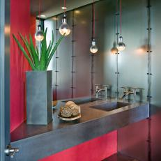 Modern Red Bathroom With Pendant Lights