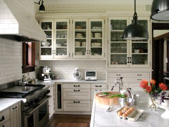 Transitional White Kitchen With Subway Tile Walls