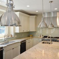 White Transitional Kitchen With Industrial Pendant Lighting