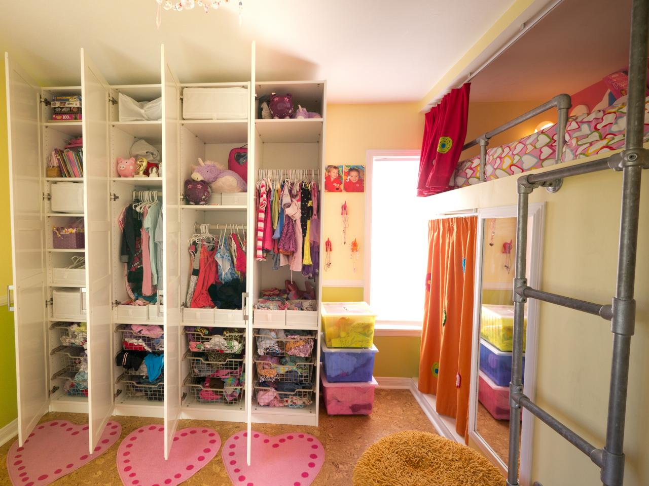 Shared Kids Room With Floor To Ceiling Storage Hgtv