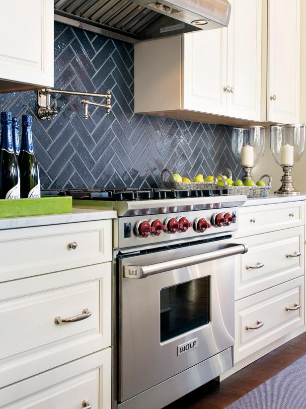Black and White Kitchen With Stainless Steel Stove