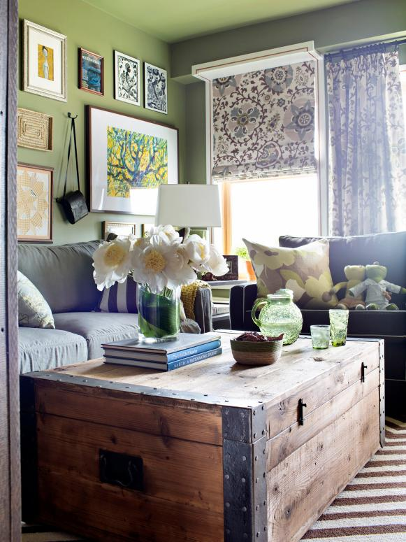 Shabby Chic Living Room with Wood Trunk Coffee Table