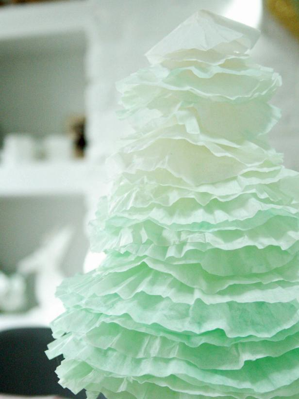 Green Ombre Tree Made From Coffee Filters