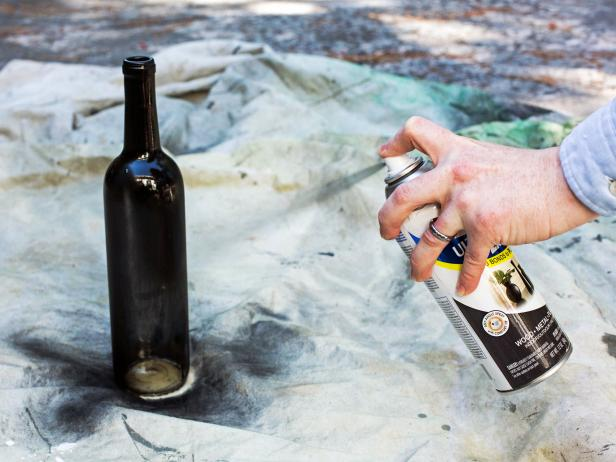 Wine Bottles With Black Spray Paint