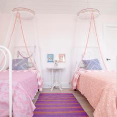 White and Pink Girls Bedroom With Twin Beds & Photos | HGTV