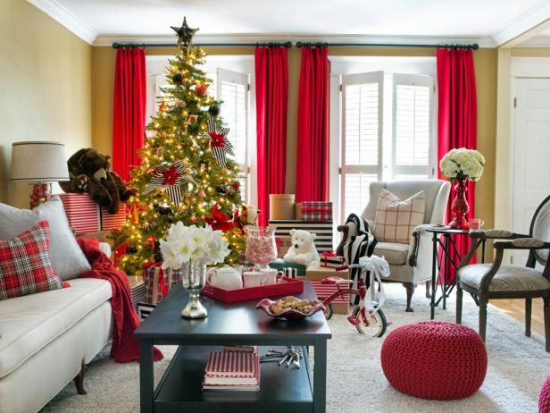 Neutral Living Room With Red Curtains, Christmas Tree & Red Ottoman