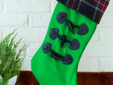 Green Stocking With Leather Toggles