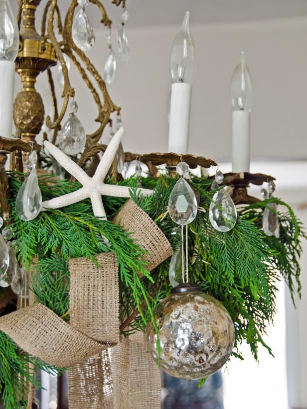 Chandelier With Coastal Christmas Decor