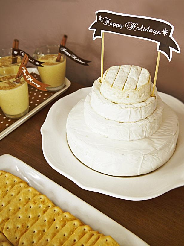Brie Cake Tower And Crackers At Christmas Party