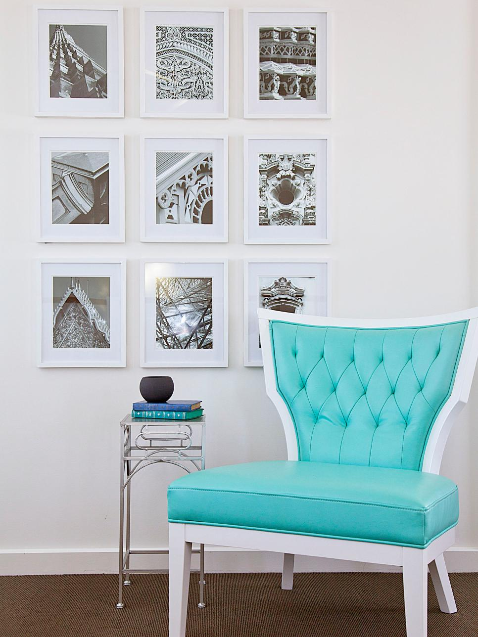 Master Bedroom Sitting Area With a Gallery Wall and Turquoise Chair