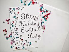 Holiday Cocktail Party Invitations With Sequins