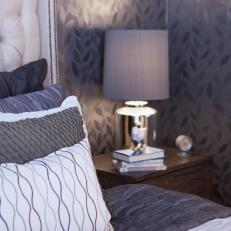 Metallic Leaf Patterned Wallpaper in Contemporary Bedroom
