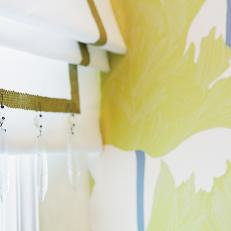 Embellished Roman Shade in Yellow Floral Bathroom