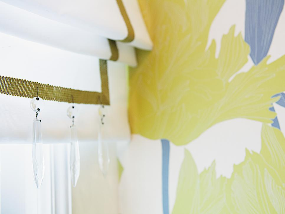 Roman Shade With Green Trim and Crystals in Yellow Floral Bathroom