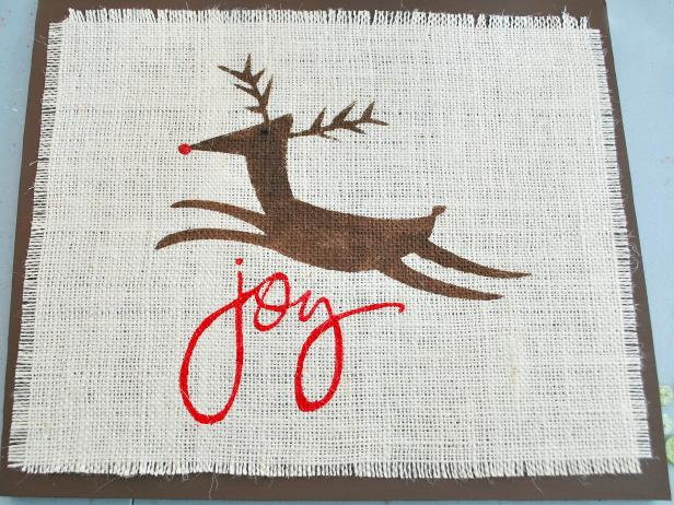 Attach Burlap to Background for Reindeer Wall Art
