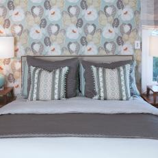 Gray Bedroom With Floral Wallpapered Accent Wall