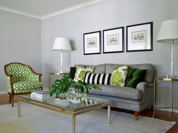 Transitional Gray Living Room With Green Patterned Chair | HGTV