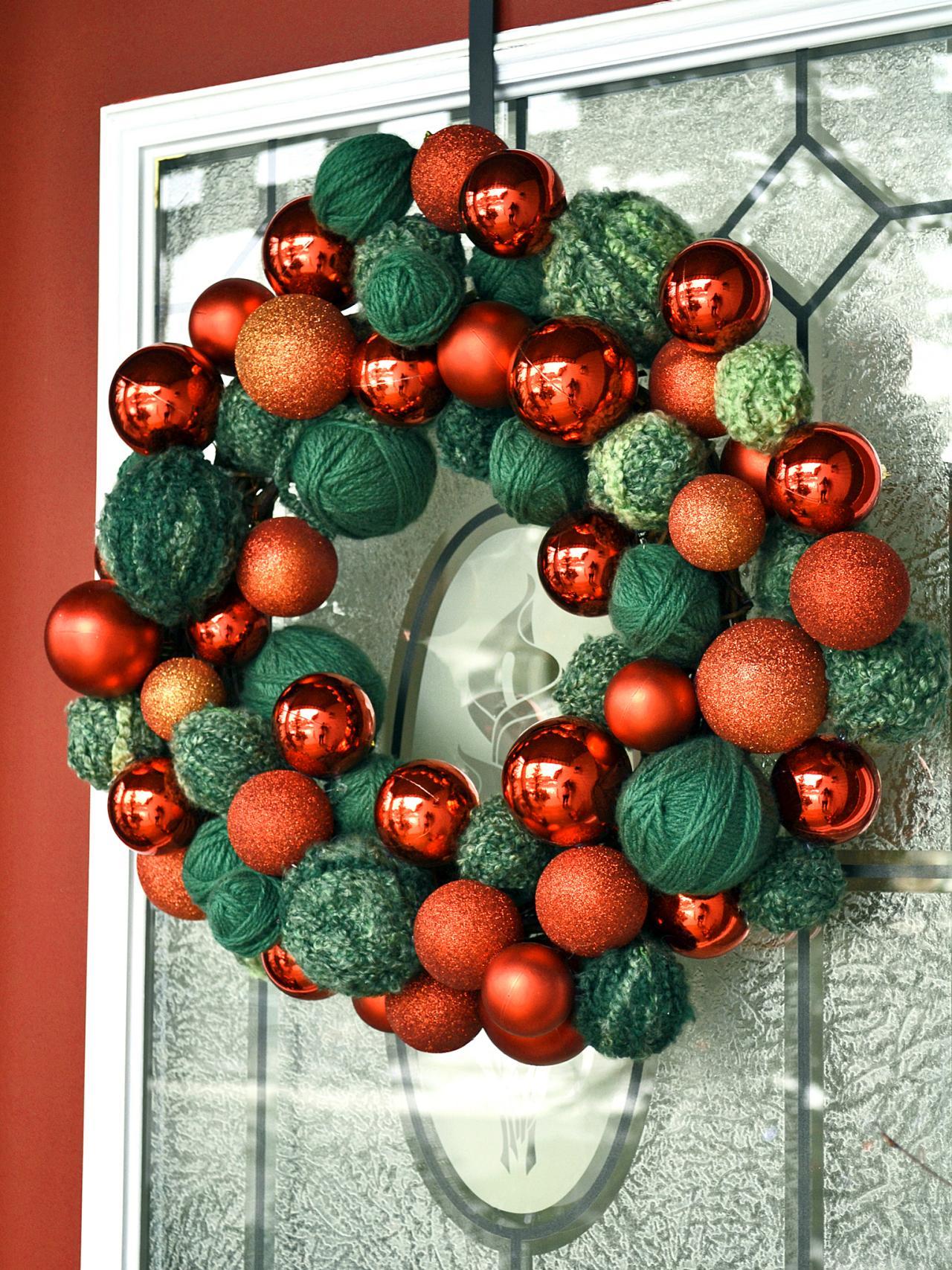 Easy Yarn And Ornament Wreath Hgtv