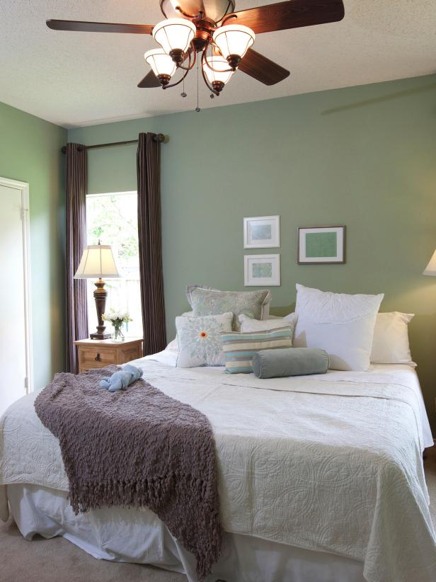 Traditional Gray Bedroom With White Bedding and Gray Throw