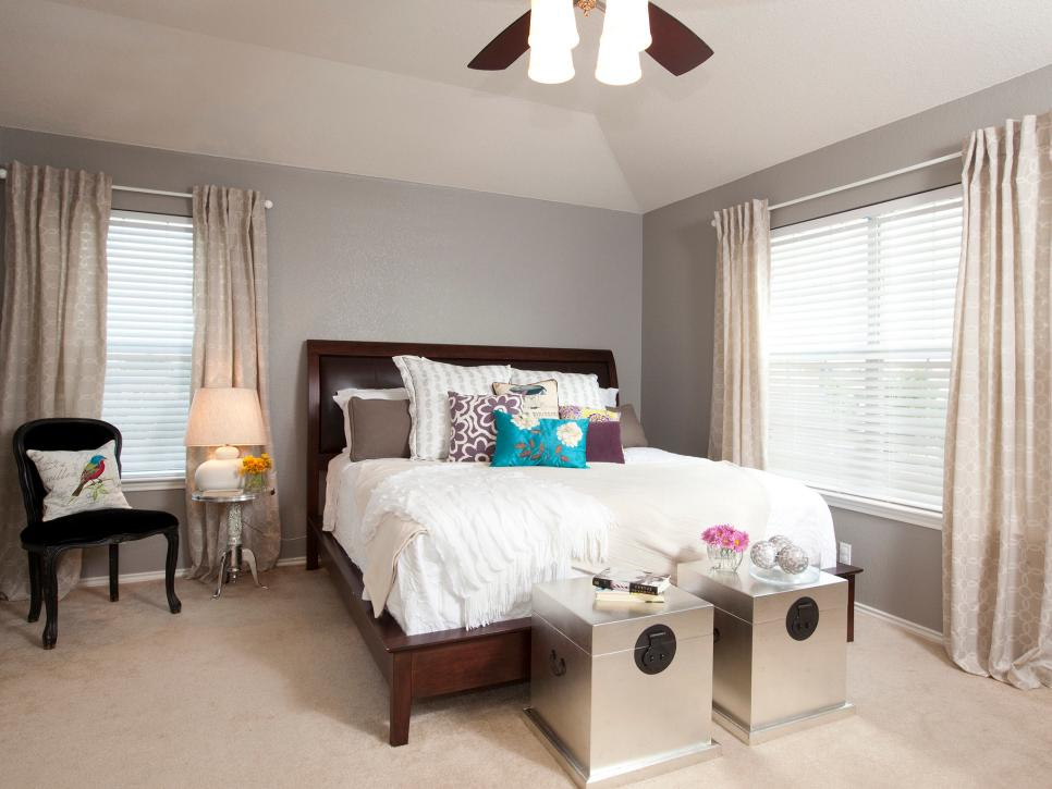 Gray Bedroom With White Bed Linens