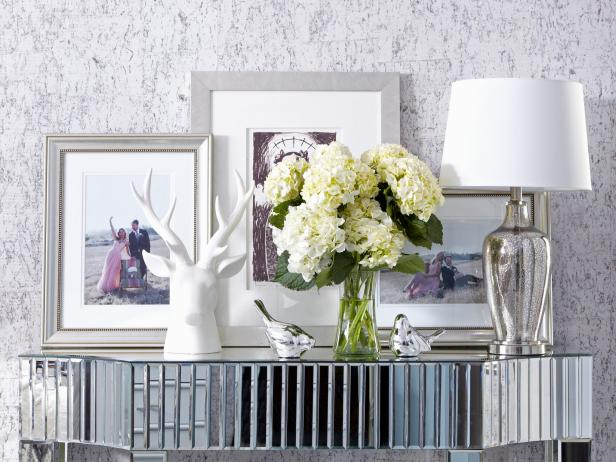 Classic and Elegant White and Silver Table Vignette