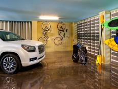 A two-vehicle space offers storage for bike, kayak and golfing supplies.