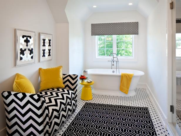 Black And White Bathroom With Pops Of Yellow