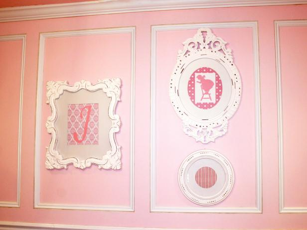 Traditional Pink Nursery Wall With White Detail