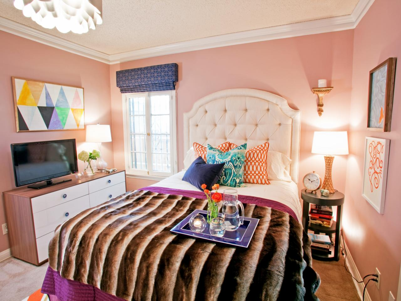 Pink Teen Bedroom With Faux Fur Throw Hgtv