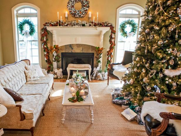 Traditional living room with oversized Christmas tree